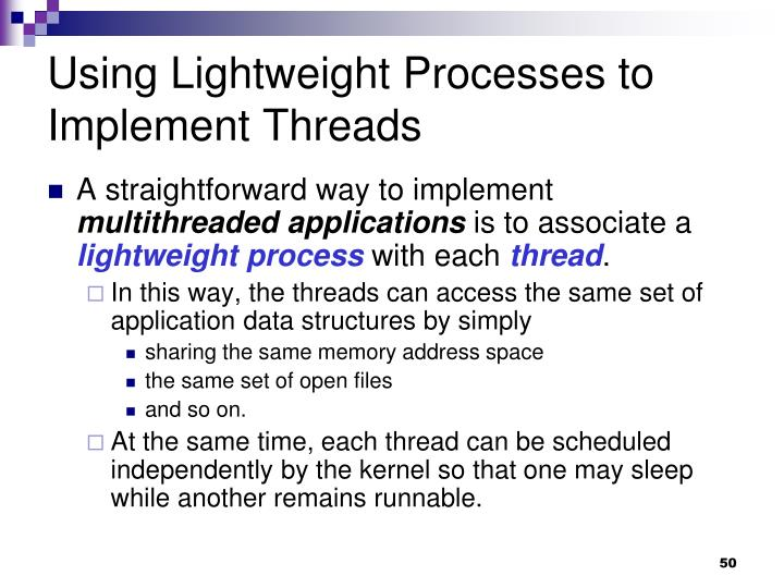 Using Lightweight Processes to Implement Threads