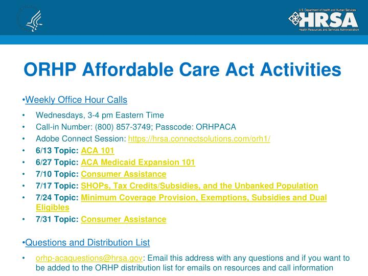 ORHP Affordable Care Act Activities