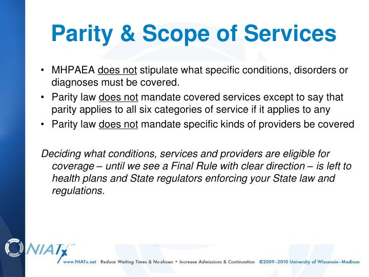 Parity & Scope of Services