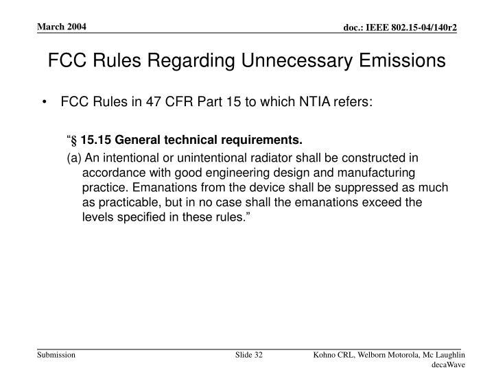 FCC Rules Regarding Unnecessary Emissions