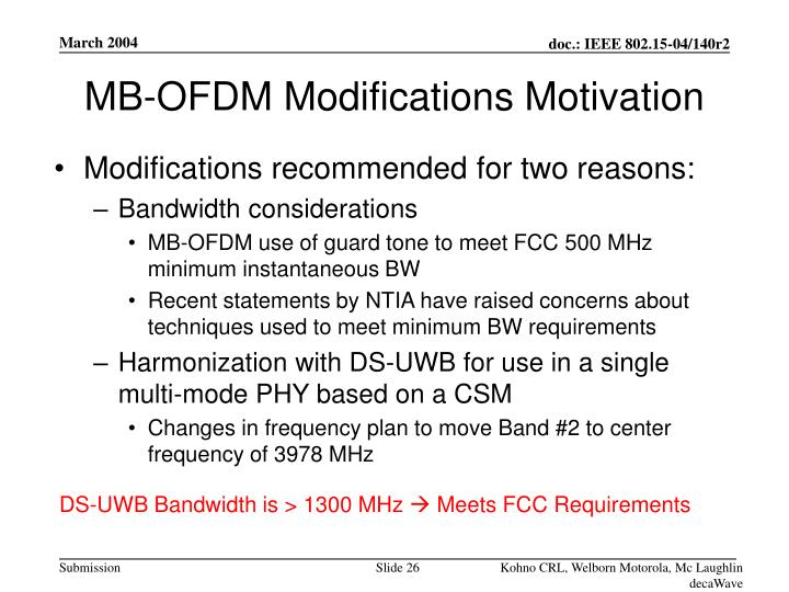 MB-OFDM Modifications Motivation