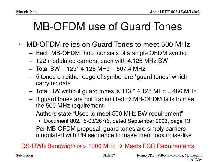 MB-OFDM use of Guard Tones