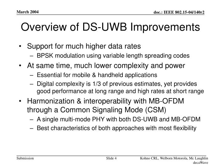 Overview of DS-UWB Improvements