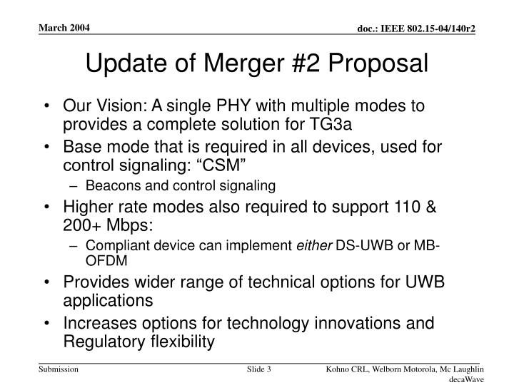 Update of Merger #2 Proposal