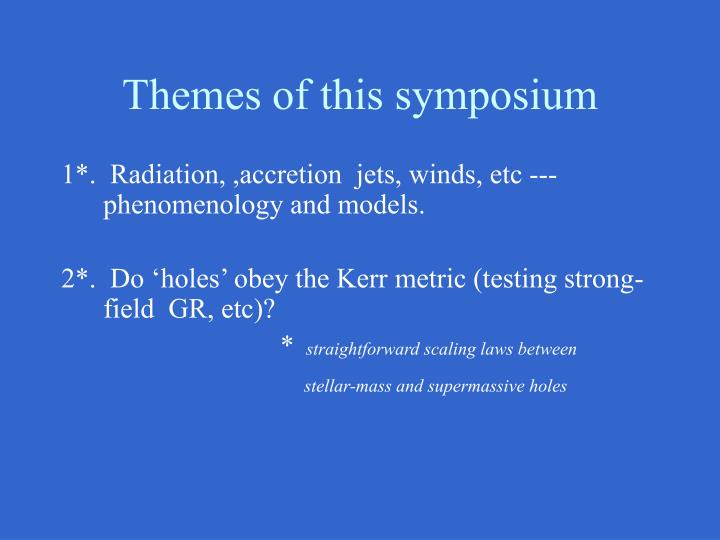 Themes of this symposium