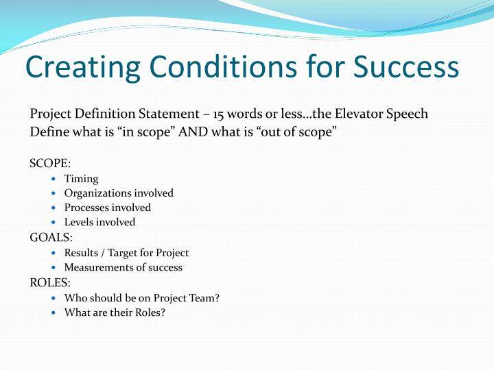 Creating Conditions for Success