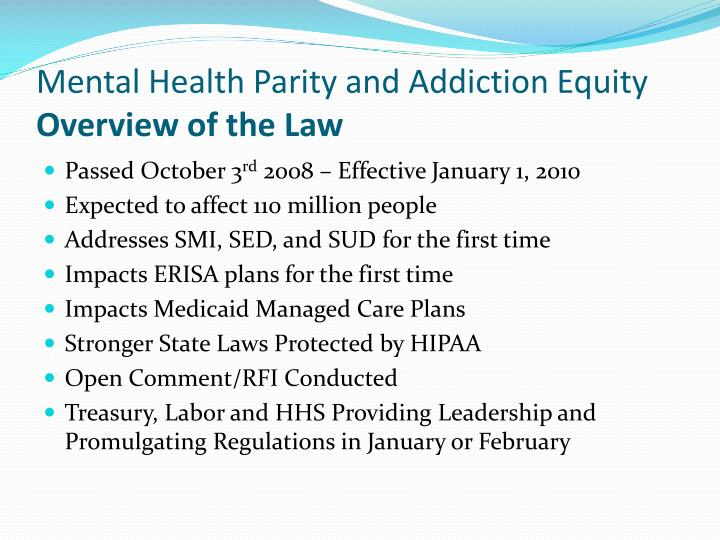 Mental Health Parity and Addiction Equity