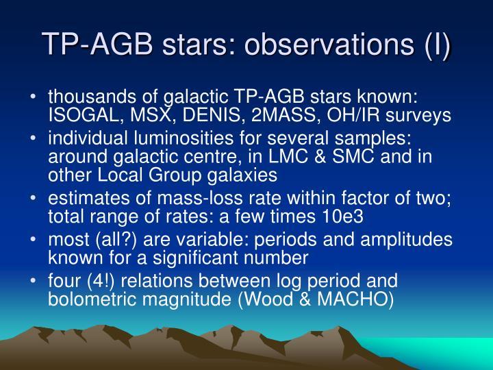 TP-AGB stars: observations (I)