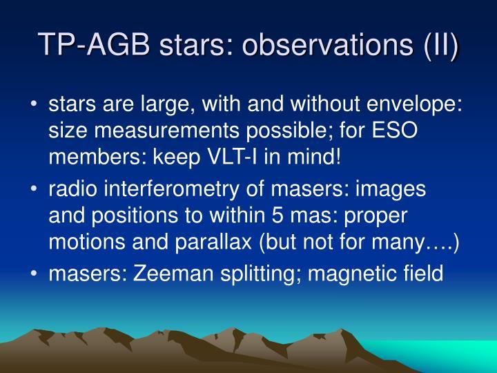 TP-AGB stars: observations (II)