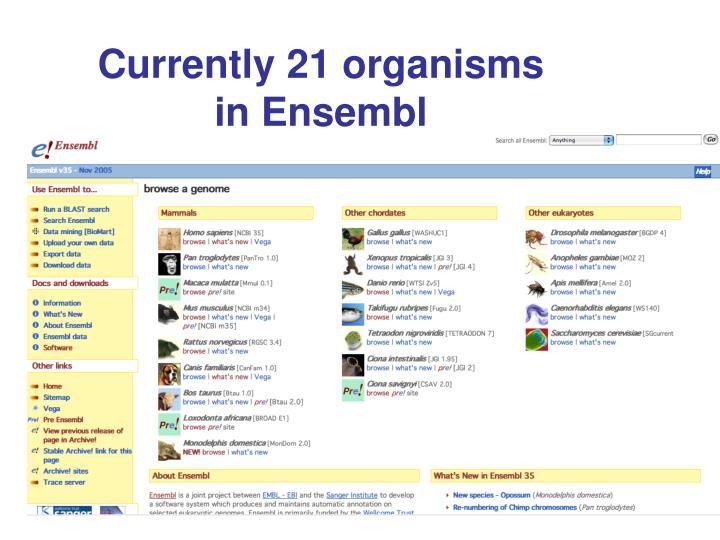 Currently 21 organisms