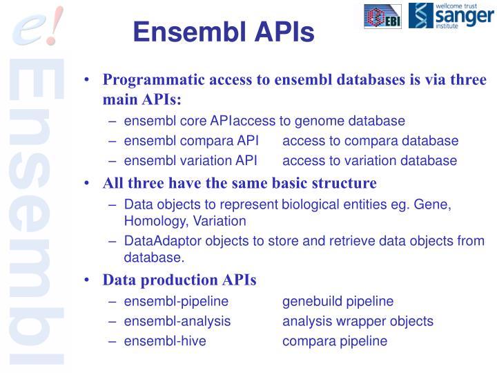 Ensembl APIs