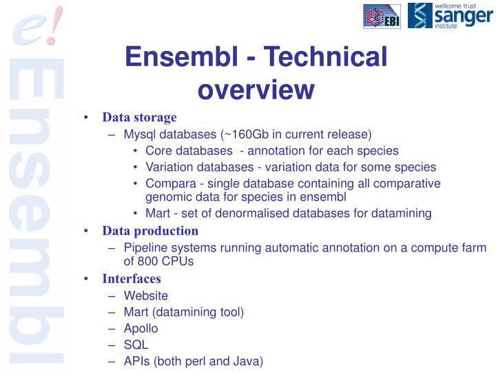 Ensembl - Technical overview