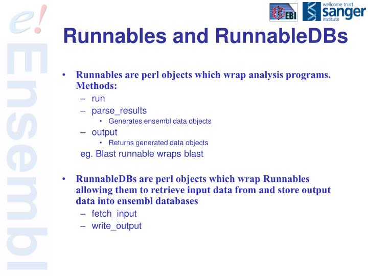 Runnables and RunnableDBs