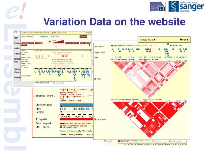 Variation Data on the website