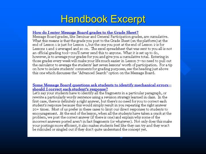 Handbook Excerpt