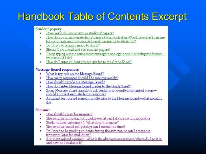 Handbook Table of Contents Excerpt