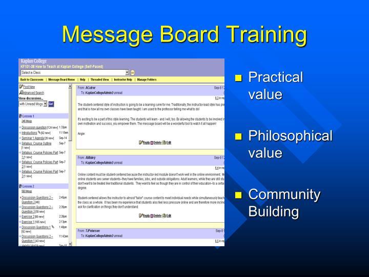 Message Board Training