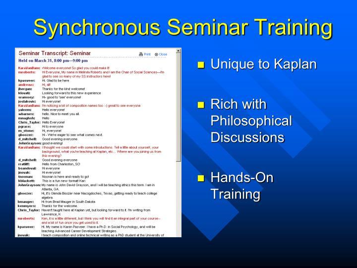 Synchronous Seminar Training
