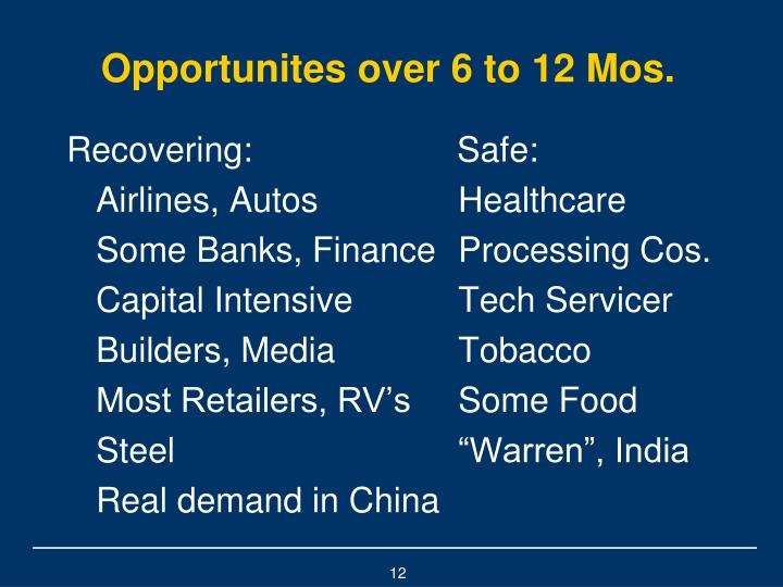 Opportunites over 6 to 12 Mos.