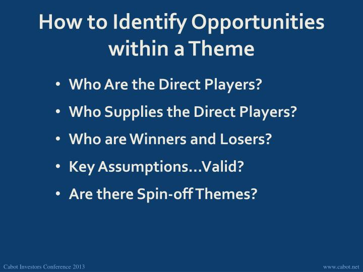 How to Identify Opportunities within a Theme