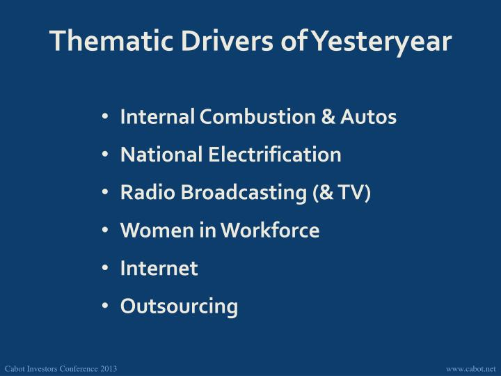 Thematic Drivers of Yesteryear