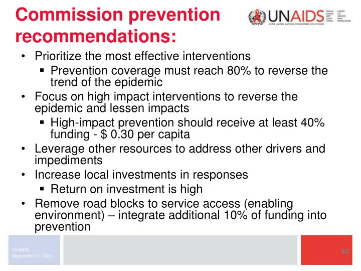Commission prevention recommendations: