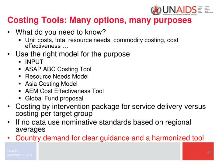 Costing Tools: Many options, many purposes