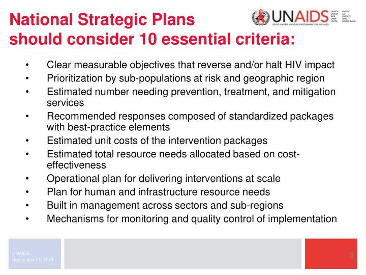 National Strategic Plans