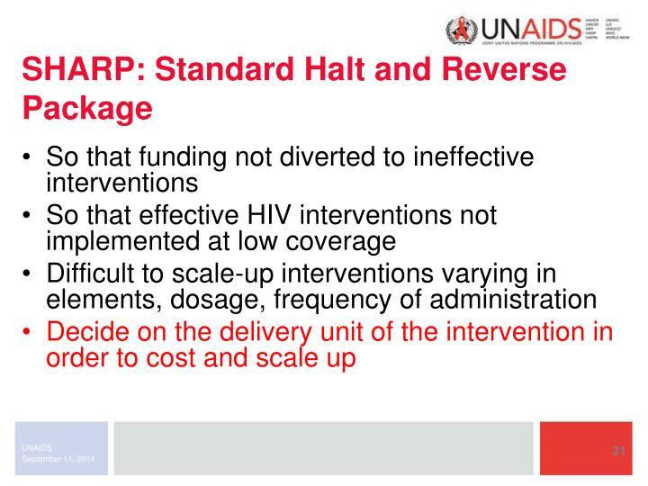 SHARP: Standard Halt and Reverse Package