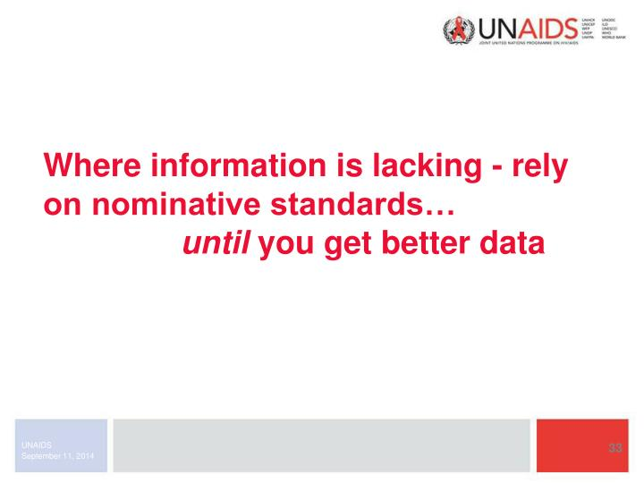 Where information is lacking - rely on nominative standards…