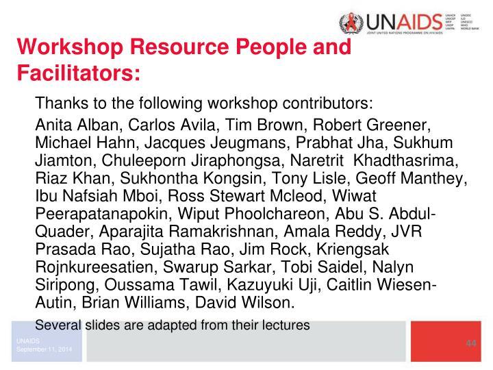 Workshop Resource People and Facilitators: