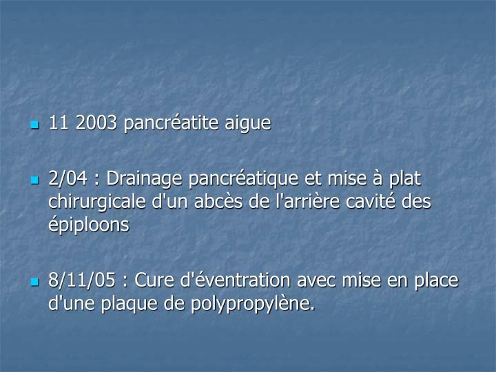 11 2003 pancréatite aigue