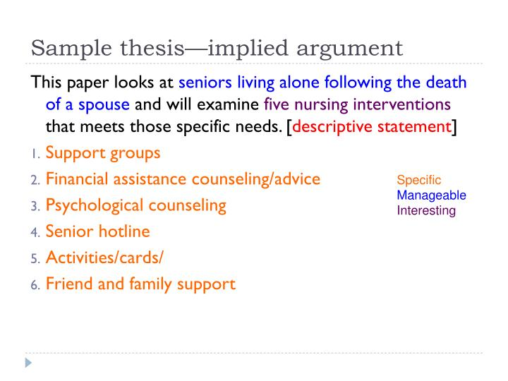Sample thesis—implied argument