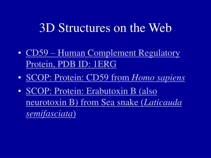 3D Structures on the Web