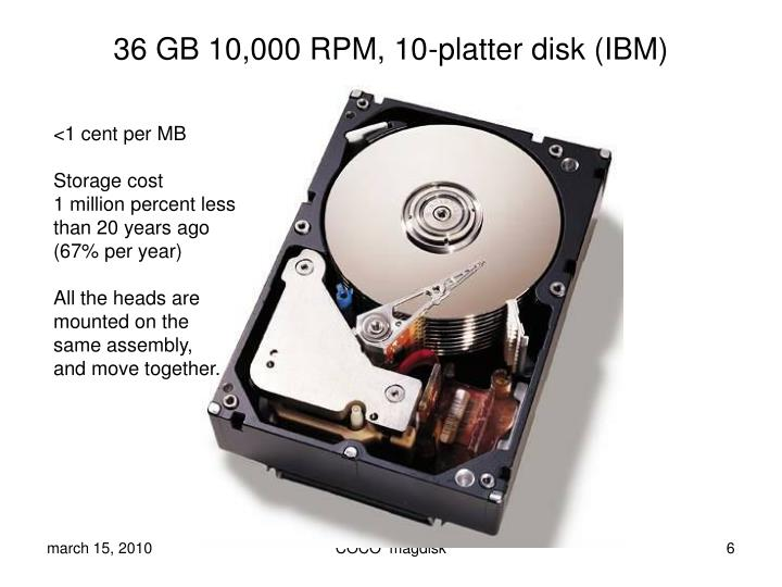 36 GB 10,000 RPM, 10-platter disk (IBM)