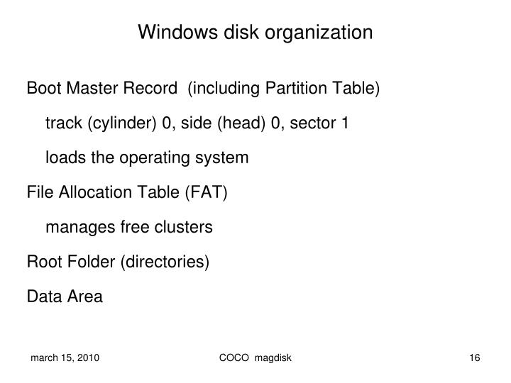 Windows disk organization