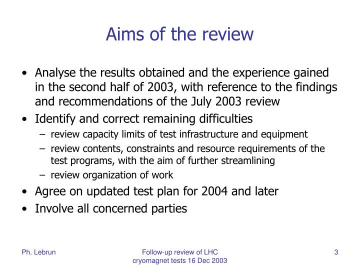 Aims of the review