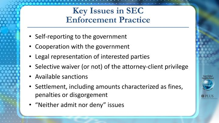 Key Issues in SEC