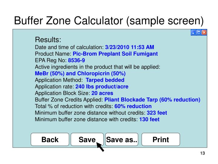 Buffer Zone Calculator (sample screen)
