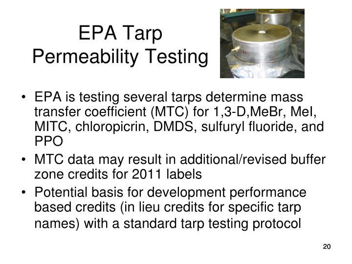 EPA Tarp Permeability Testing