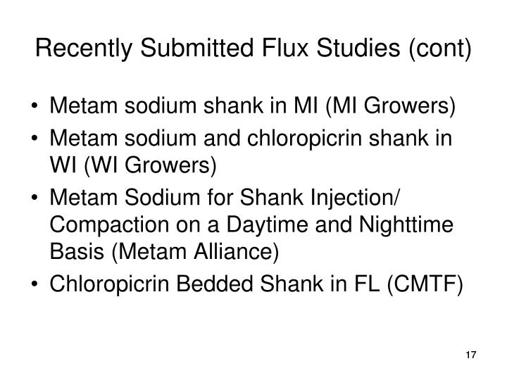 Recently Submitted Flux Studies (cont)