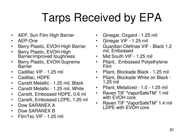 Tarps Received by EPA