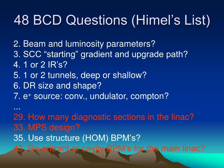 48 BCD Questions (Himel's List)