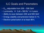 ilc goals and parameters