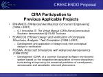 cira participation to previous applicable projects