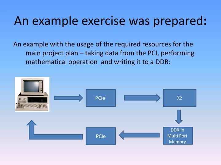 An example exercise was prepared