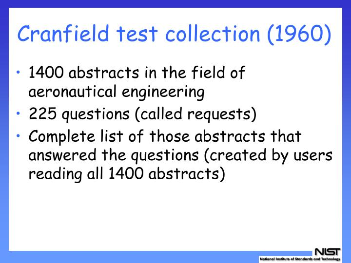Cranfield test collection (1960)
