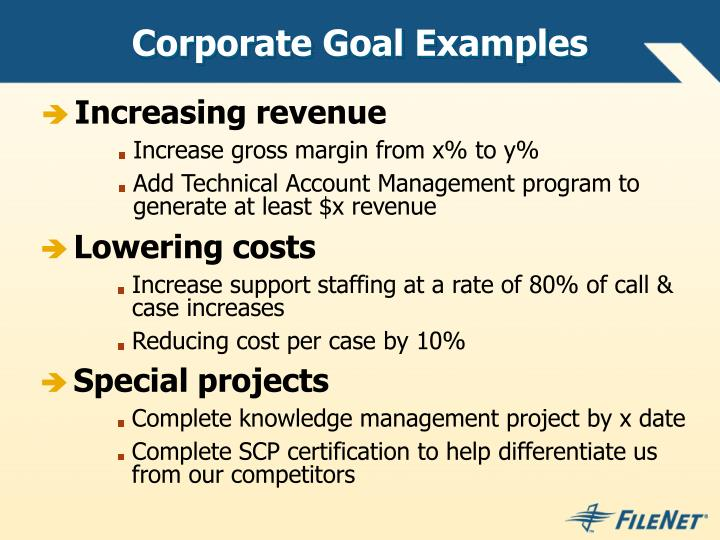 Corporate Goal Examples