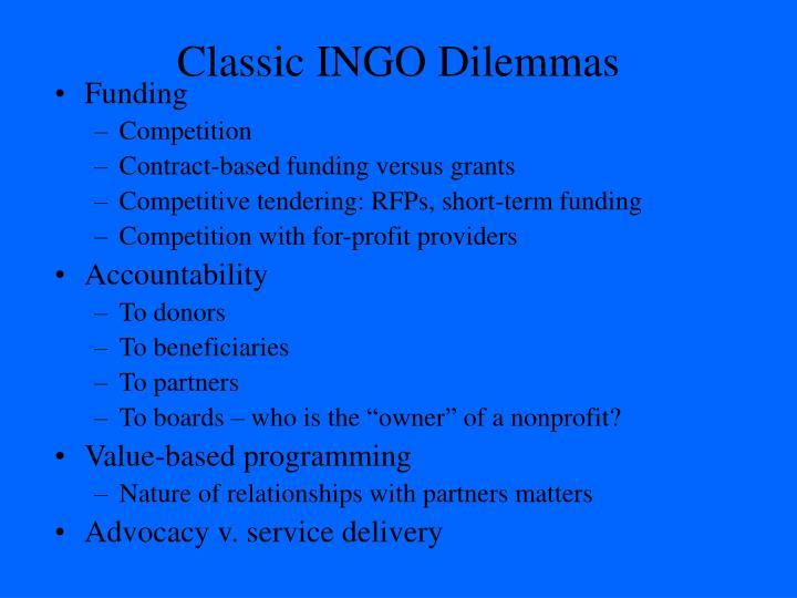 Classic INGO Dilemmas