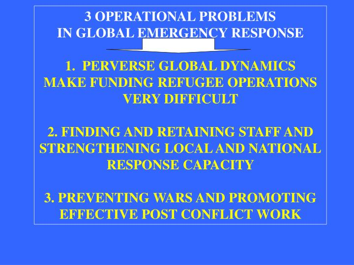 3 OPERATIONAL PROBLEMS